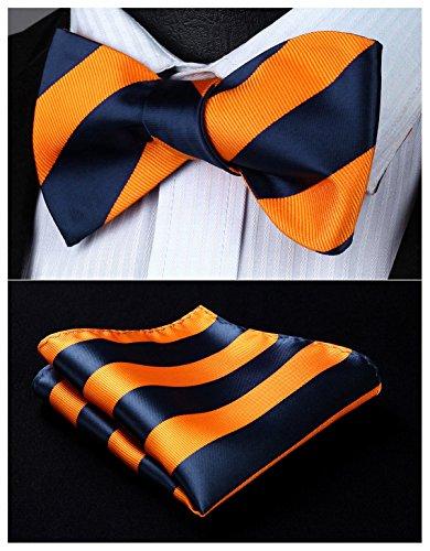 Bowties Orange (HISDERN Men's Stripe Jacquard Woven Wedding Party Self Bow Tie Set Navy Blue/Orange)