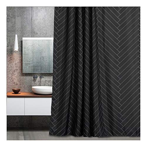 Aimjerry Waterproof Fabric Shower Curtain Polyester Striped Black 72