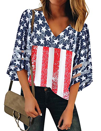 Luyeess Women's Casual V Neck 4th of July Patriotic Loose Mesh Panel Chiffon 3/4 Bell Sleeve Blouse Top Shirt Tee American USA Flag Printed, Size S(US 4-6)