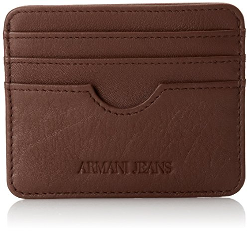 Armani Jeans Men's Leather Card Wallet, Brown, One Size