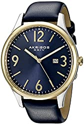 Akribos XXIV Men's AK869BU Round Blue Dial Three Hand Quartz Two Tone Strap Watch
