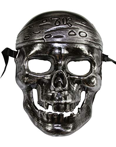 Caribbean Pirate Skull Face Halloween Mask (Silver) ()