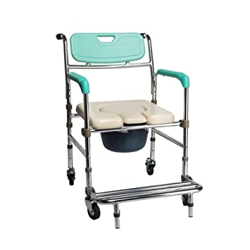 LIULIFE Sillas con Inodoro Wheel Squatting Chair Taburete WC Móvil Old Man Bath Chair Antideslizante Silla De Ruedas Plegable,Green: Amazon.es: Hogar