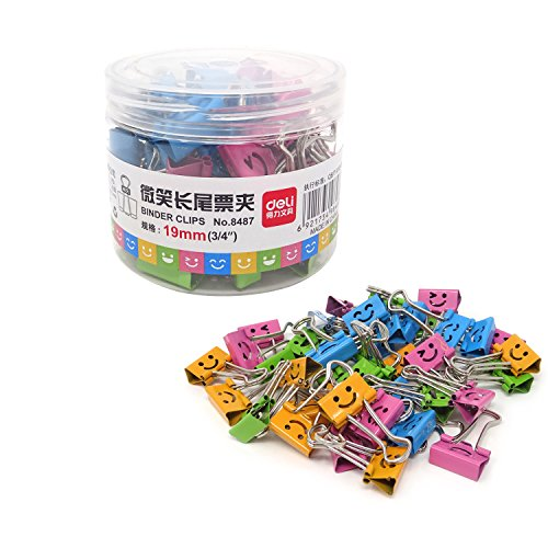 (Honbay 40PCS 19mm 3/4inch Wide Lovely Small Size Smiling Style Metal Binder Clips Paper Clips Clamps with a Plastic Box)
