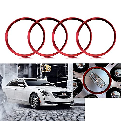 4 Pieces Red Alloy Car Wheel Rim Center Cap Hub Rings Decoration For Cadillac ATS CT6 CTS Escalade XT5 SRX