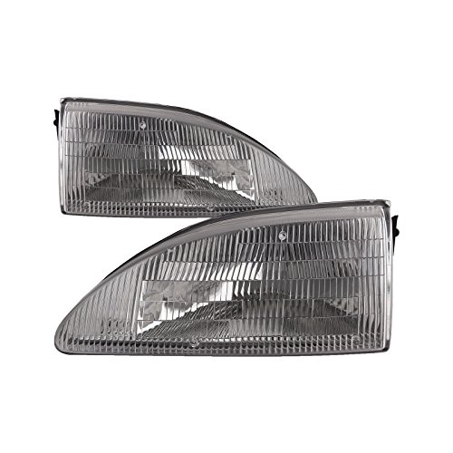 HEADLIGHTSDEPOT Compatible with Ford Mustang Headlights With Out Cobra Model Headlamps Driver/Passenger Pair New 94 Ford Mustang Cobra Model