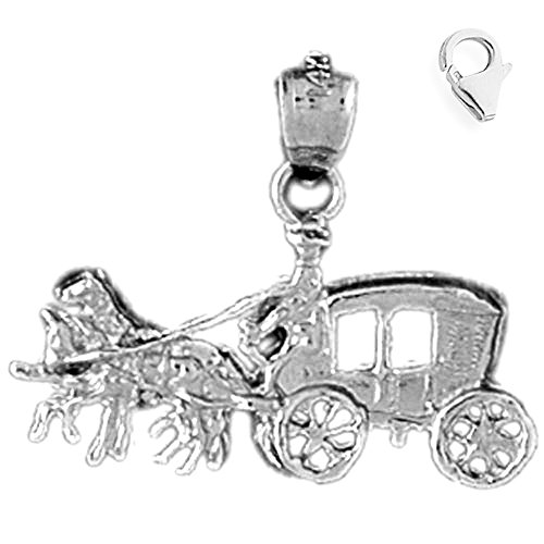 - Jewels Obsession Horse & Wagon Charm | 14K White Gold Horse & Wagon Charm Pendant - 20mm