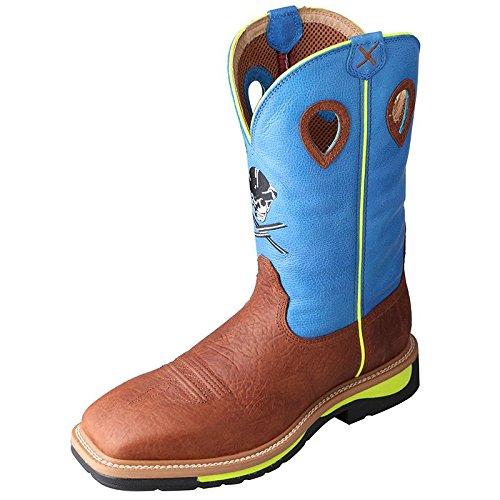 Twisted X Men's Neon Blue Lite Cowboy Work Boot Steel Toe Brown 9 D(M) US