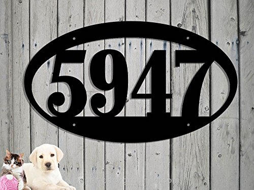 Oval Address Sign 14 x 8 With 4 1/2 Inch Numbers Large House Numbers Steel Sign Metal Sign Hand Made Plaque Made IN USA