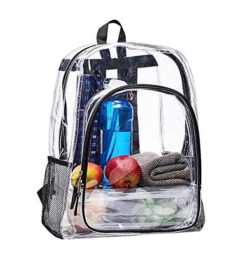 Clear Transparent Backpack, Heavy Duty Multi-pockets School Bag, Clear PVC See Through Student Outdoor Backpacks for School, Security, Sports ()