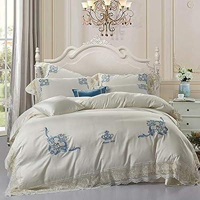 dfsgrfvf Bordado Corona Juego de sábanas de algodón Egipcio 100 ...