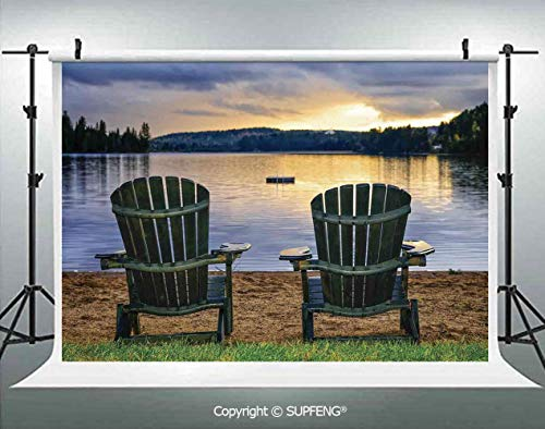 Photography Background Two Wooden Chairs on Relaxing Lakeside at Sunset Algonquin Provincial Park Canada 3D Backdrops for Photography Backdrop Photo Background Studio Prop -