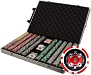 Brybelly XCSAC-1000R 1000 Count Ace Casino Poker Chip Set in Rolling Aluminum Case (14gm)