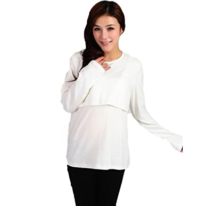 485bcc9eb Koly Ropa de maternidad embarazada lactancia camiseta de manga larga  lactancia tapas (L