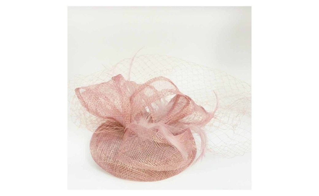Fashion Elegant Linen Mesh Flower Fascinator Veil Hair Clip Headband - Rusty Pink