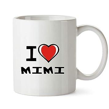 Idakoos I Love Mimi Bicolor Heart - Nombres Femenino - Taza: Amazon.es: Hogar