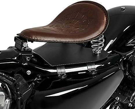 Selle si/ège solo avec ressorts pour motos Custom Craftride SG6 marron