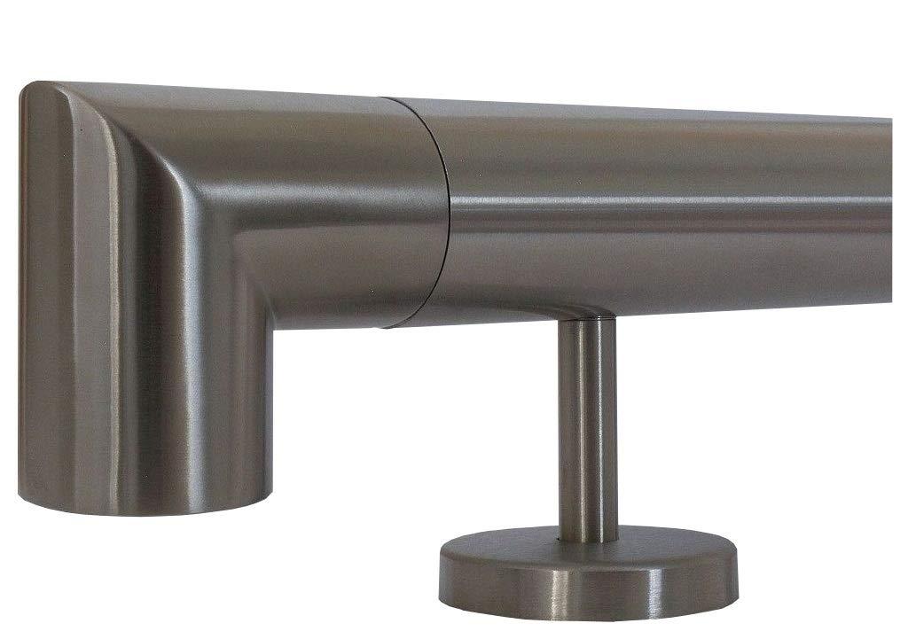 6m aus einem St/ück und unterschiedlichen Endst/ücken zum Ausw/ählen /Ø 33,7 mm mit gerade Halter zum Beispiel: L/änge 40 cm mit 2 Halter Edelstahlhandlauf L/änge 0,3m Enden mit halbrunde Kappe