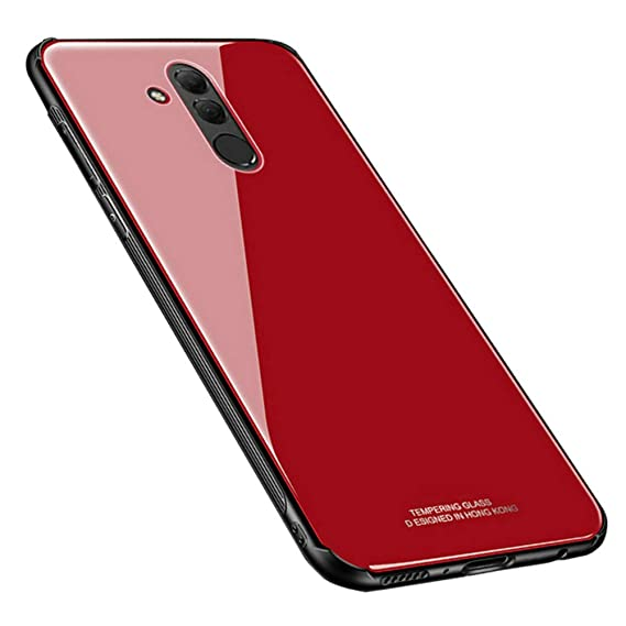Kepuch Quartz Huawei Mate 20 Lite Case - TPU + Tempered Glass Back Cover for Huawei Mate 20 Lite - Red