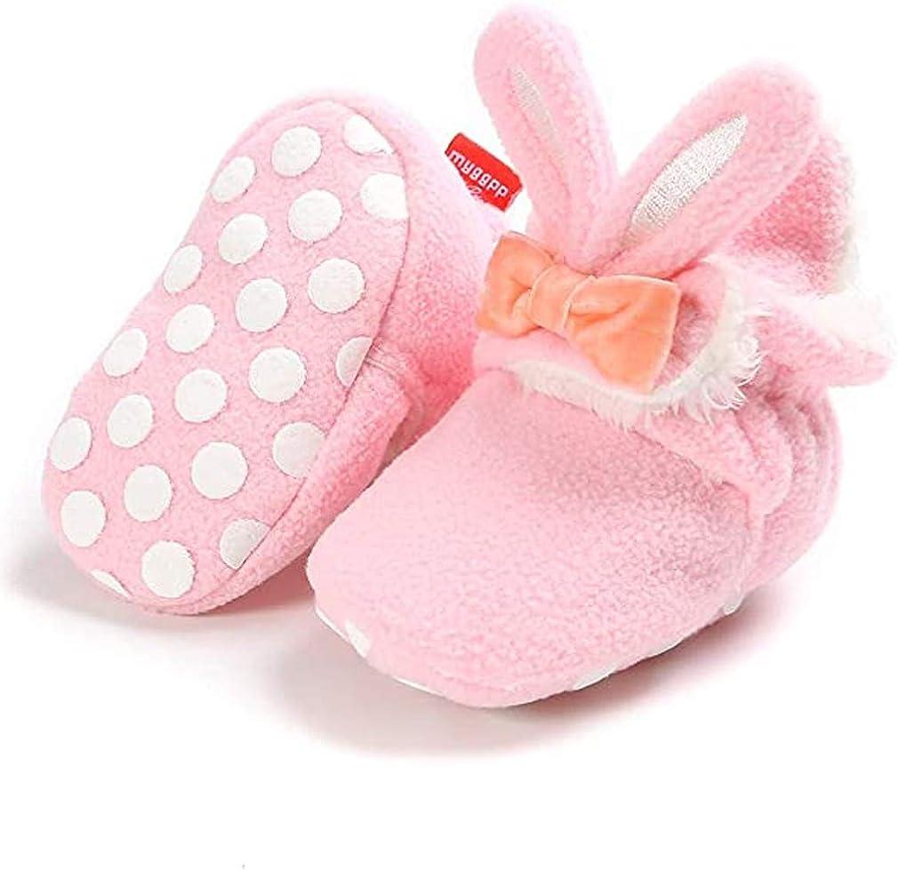 Unisex Newborn Baby Cotton Cozy Fleece Booties Non-Slip Sole for Toddler Boys Girls Infant Winter Warm Fleece Socks First Walker Crib Shoes (D- Rabbit Pink, 0-6 months)