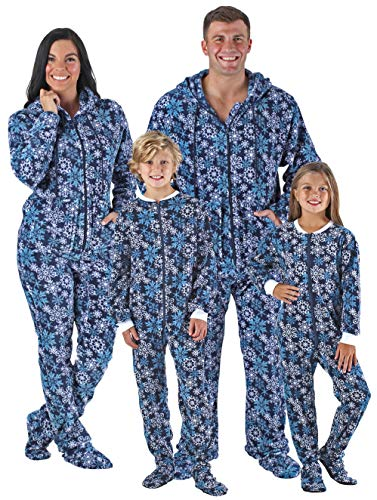 SleepytimePjs Family Matching Navy Snowflake Onesie PJs Footed Pajamas