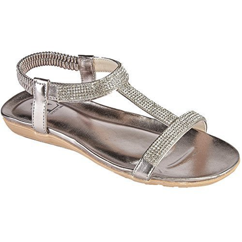 Sapphire Boutique patchouli Womens Diamante Glitter T-Bar Elastic Sling Back Strap Sandals Pewter Hjrv1ADoir