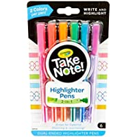 Crayola Take Note Dual Tip 6-Count Highlighter Pens (Assorted Colors)