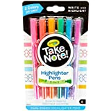 Crayola Take Note Dual Tip Highlighter Pens, Assorted Colors, School Supplies, 6Count