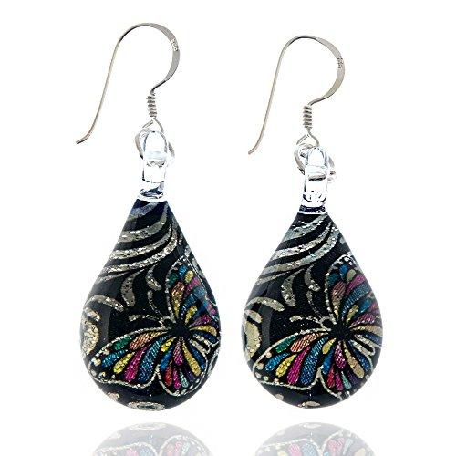 925-sterling-silver-hand-blown-murano-glass-glitter-butterfly-silver-black-dangle-earrings