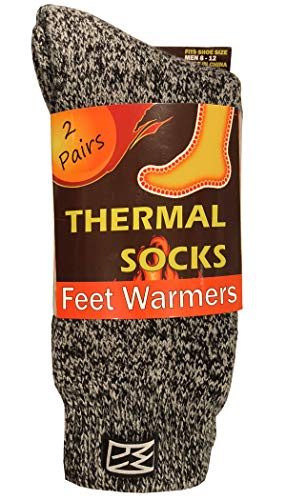 Feet Warmers Men's Cold Weather Insulated Thermal Socks, Pack of 2 (Gray, Men 10-13 (Shoe Size (Best Men Thermal Socks)