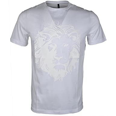 bf1f78f1a4d559 Versus Versace Mens T-Shirt, Rubberised Lion Head White Tee: Amazon.co.uk:  Clothing