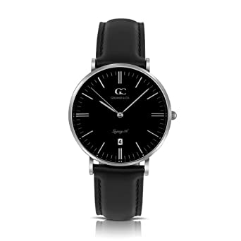 Gelfand & Co. Unisex Minimalist Watch Black Leather Varick 36mm Silver with Black Dial