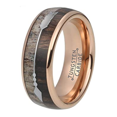 Amazon Com Wow Jewelers 8mm Deer Antler Rose Gold Wedding Band
