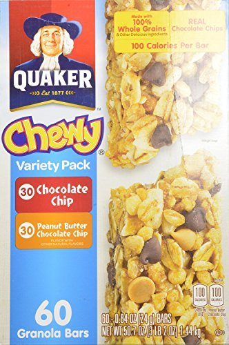 Quaker Chewy Variety Pack 60 Granola Bars (Peanut Butter and Chocolate Chip), 50.7OZ (2 Boxes)