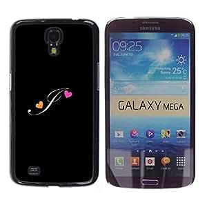 Paccase / SLIM PC / Aliminium Casa Carcasa Funda Case Cover para - Black Initials Letter Calligraphy Text - Samsung Galaxy Mega 6.3 I9200 SGH-i527