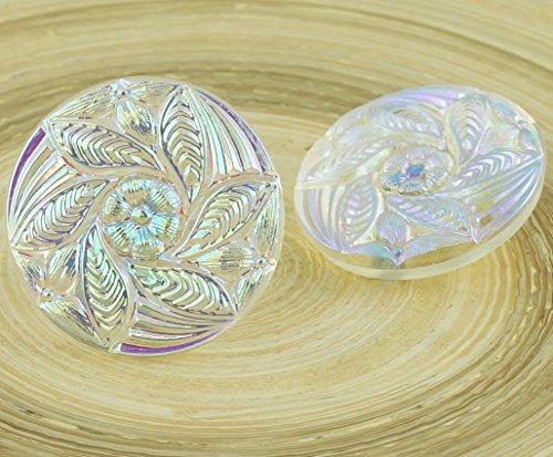 1pc Large Crystal AB Round Leaf Flower Handmade Czech Glass Buttons Size 12, (Czech Glass Flower Buttons)