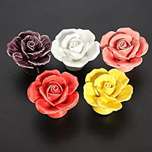 Pink Lizard Ceramic Rose Flower Door Knobs Pull Handle