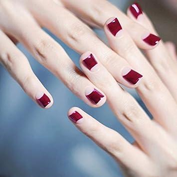 Amazon.com: Juego de 24 uñas postizas de color rojo púrpura ...