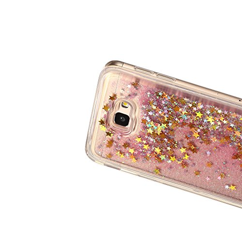 Funda para Samsung Galaxy J7 Prime, Carcasa Galaxy ON7 2016, Caselover 3D Bling Silicona TPU Arena Movediza Lentejuelas Carcasa para Samsung Galaxy J7 Prime G6100 Glitter Líquido Brillar Cristal Spark Oro