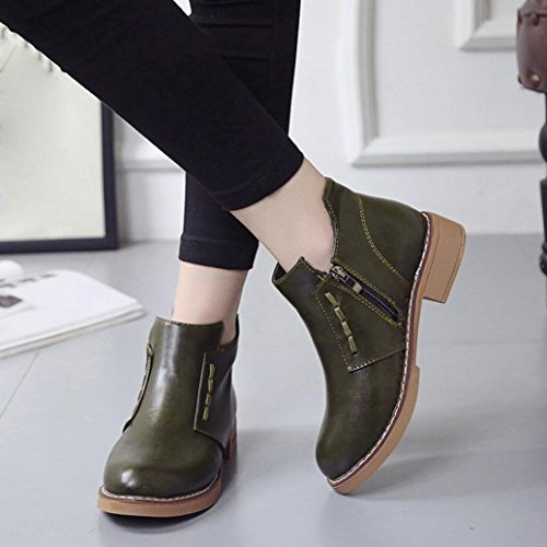 British Wind Martin Boots,Byste Women Dress Shoes Lady Round Head Short Boots Green
