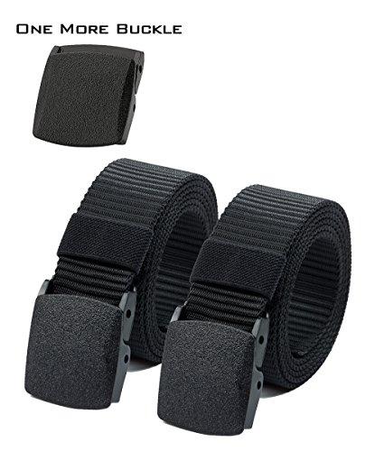 Waist Belt Nylon Canvas Hiker Belt Military Tactical Belt Plastic Buckle (2pcs. All ()