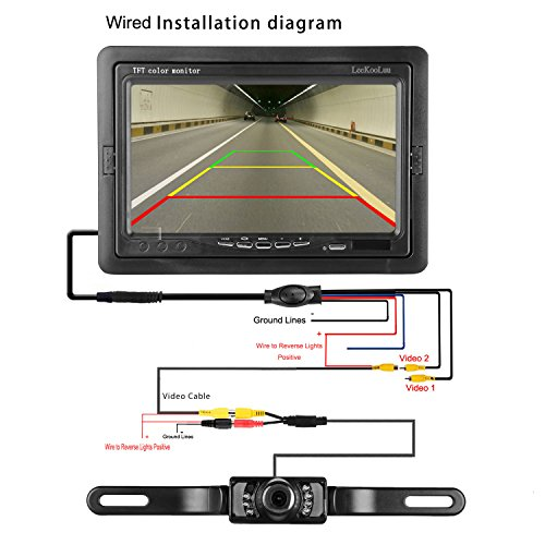 leekooluu backup camera and 7 39 39 tft monitor kit rear view. Black Bedroom Furniture Sets. Home Design Ideas