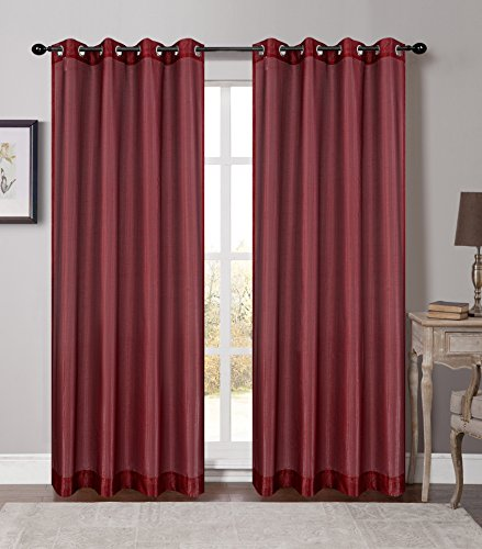 Urbanest 54-inch by 84-inch Set of 2 Soho Sheer Drapery Curtain Panels with Grommets, Bordeaux ()