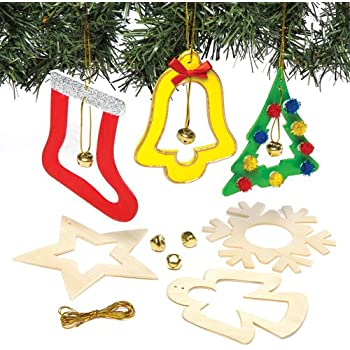 Christmas Bell Wooden Hanging Decoration Kit for Children to Paint Decorate and Display for Xmas - Creative Craft Activity for Kids Adults (Pack of 6)