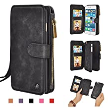 iPhone 5s Wallet Case, Zipper Leather Purse Style Zipper Wallet with Wrist/Shoulder Strap 14 Card Slots Detachable Back Cover for Apple iPhone 5 5S SE (Black)