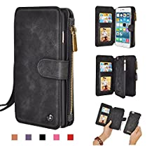 iPhone Wallet Case, Premium PU Leather Zipper Wallet Folio Cellphone Purse [Card Slots] [Stand] [Wrist/Shoulder Strap] Detachable Cover for Apple iPhone