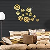 12Pcs Acrylic Mirror Wall Stickers, E-Scenery Propitious Clouds Peel and Stick DIY 3D Wall Decals Mural Art Wallpaper for Kids Room Home Nursery Party Window Decor (Gold)