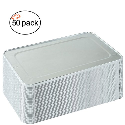 Tiger Chef 50-Pack Aluminum Foil Lids for Full Size Steam Table Pans 21.25 x 13.25 x .38 inches