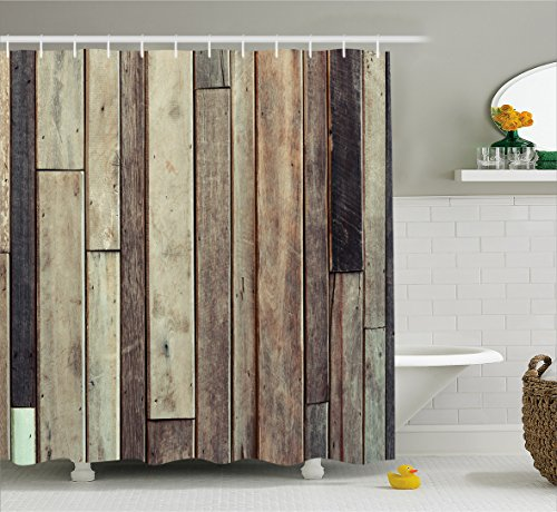 Wooden Shower Curtain Set by Ambesonne, Antique Old Planks Flooring Wall Picture American Style Western Rustic Panel Graphic Print, Fabric Bathroom Decor with Hooks, 70 Inches, Brown