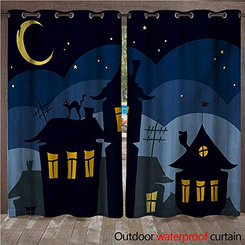 Halloween Porch Curtains Old Town with Cat on The Roof Night Sky Moon and Stars Houses Cartoon ArtW108 x L96 Black Yellow Blue ()